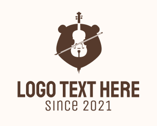 Violin Teacher - Grizzly Bear Violin  logo design
