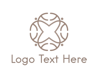 Aesthetic - Cross Flower logo design