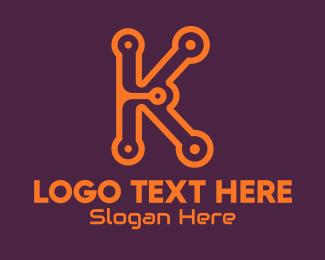 Technical - Digital Circuit Letter K logo design