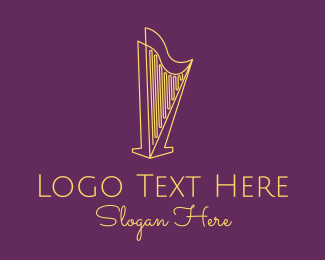 String - Musical String Harp logo design