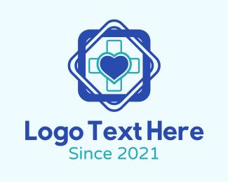 Internal Organ - Heart Medical Cross logo design