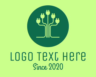 Environment - Eco Plug Tree logo design