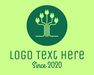 Plug - Eco Plug Tree logo design