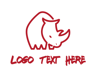 Rhinoceros - Red Rhino logo design