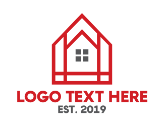 Red House - Red Mosaic House logo design