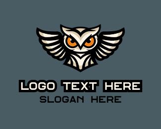 Eyes - Flying Owl Mascot logo design