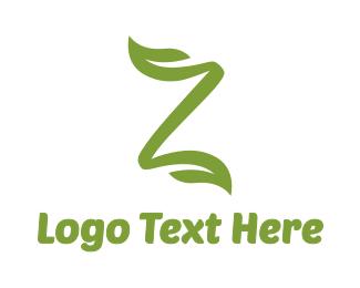 Lettermark Z - Green Leaf Z Stroke logo design