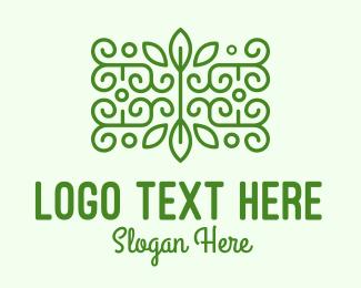 Symmetric - Green Plant Decoration logo design