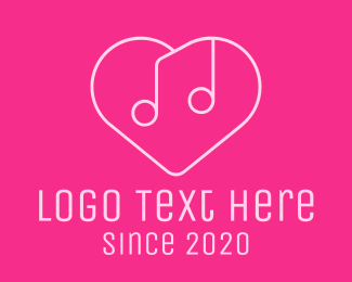 Music Label - Pink Music Heart logo design