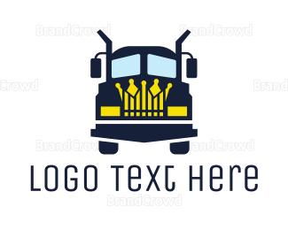 School Bus - Blue Truck King logo design