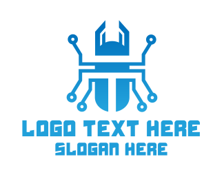 Data Provider - Blue Tech Beetle logo design
