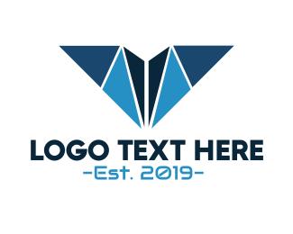 Fabrication - Blue Geometric V logo design