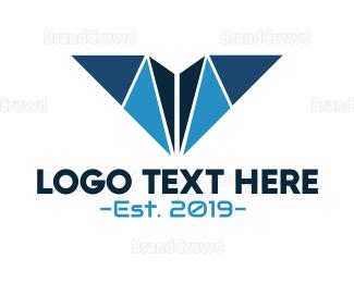 Typography - Blue Geometric V logo design
