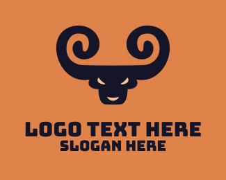 Horn - Spiral Horn Bull logo design