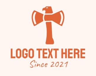 Hatchet - Orange Eagle Axe logo design