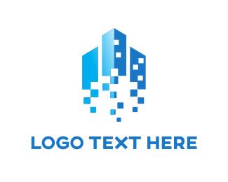 Pixel - Pixels & Buildings logo design
