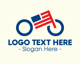 Biking - American Flag Bike logo design