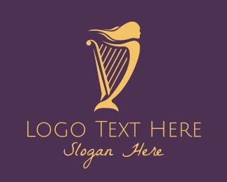 Harp - Musical Woman Harp logo design