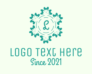 Vintage - Green Floral Ornament logo design