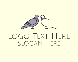Social Media - Pigeon Bird Dating Couple logo design