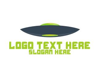 Spaceship - Blue & Green UFO logo design