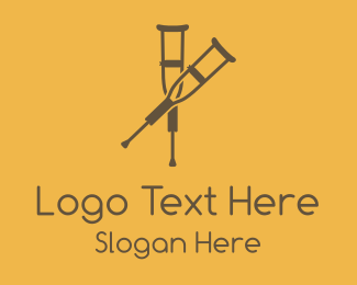 Orthopedic - Brown Crutches logo design