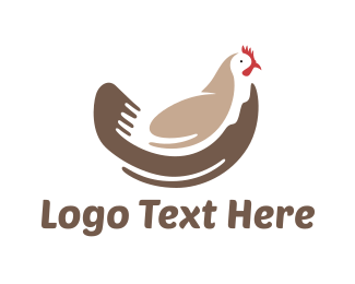White And Brown - Brown Chicken logo design