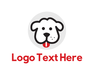 Tongue - White Dog Cartoon logo design