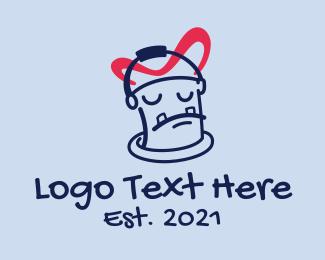 Paint Shop - Sad Paint Bucket  logo design