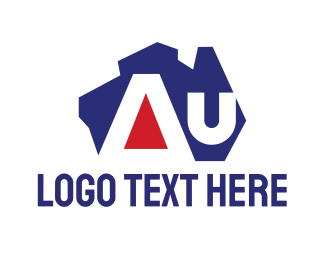 Australian Flag - Australian AU Lettermark logo design