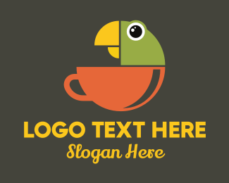 Fowl - Parrot Tea Cup logo design