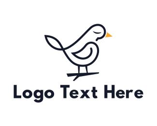 Stationery - Black Sparrow Outline logo design