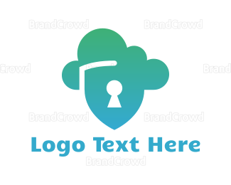 Cloud Drive - Cloud Shield Lock logo design
