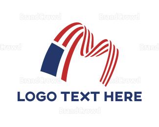 American Flag - American Flag Letter M logo design