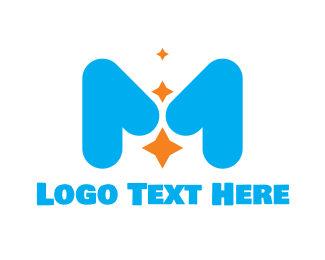 Blue Baby - Cute Star M logo design