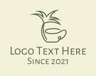 Coconut Tree - Palm Tree Cafe logo design