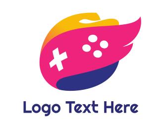 E Games - Pink Wing Flame Gaming logo design