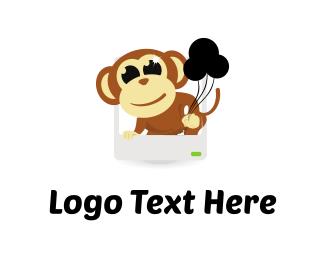 Chimpanzee - Monkey & Balloons logo design