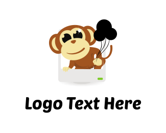 Ape - Monkey & Balloons logo design