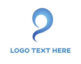Question Mark - Blue Swirl logo design