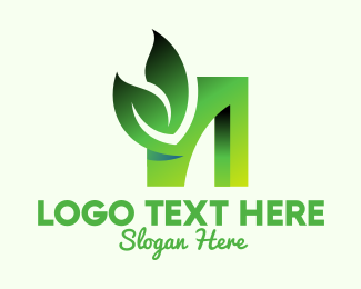 Tea Leaves - Green Organic Leaf Letter N logo design