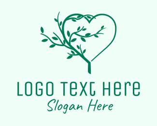 Mediation - Green Growing Tree Heart  logo design
