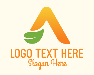 Juice Shop - Natural Orange Letter A logo design