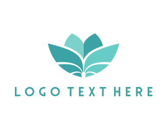 Flower - Teal Flower logo design