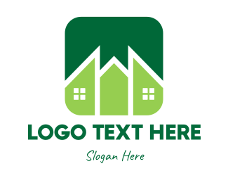 Pointed - Green Pointed House logo design