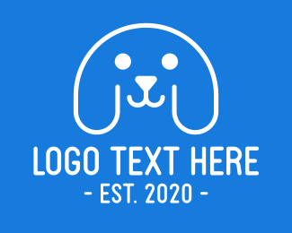 Doggie - Blue & White Puppy Dog logo design