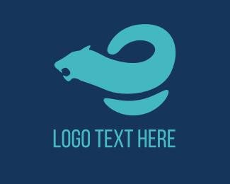Tiger - Blue Curved Feline logo design