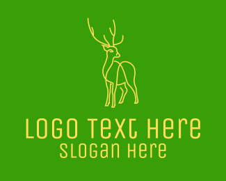 Green And Yellow - Green Yellow Reindeer Stag logo design