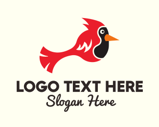 Flying Bird - Simple Red Cardinal  logo design