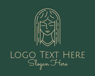 Stylist - Monoline Woman Hair logo design
